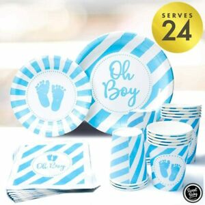 Baby Boy Shower Plates and Napkins Boy with Oh Boy Paper Plate, Napkin, Cups for