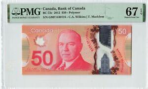 CANADA 50 Dollars 2012, BC-72c Bank of Canada, PMG 67 EPQ Superb GEM UNC