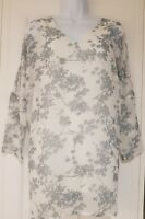 Womens Phase Eight 3/4 Sleeve White Grey Bird Print Blouse Top With Vest 8.