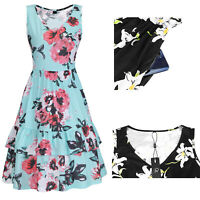 Summer V Neck Floral Ruffle Sleeveless Dress With Pocket S M L XL Blue/Green New