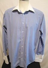 Burberry's of London Blue Stripe French Cuff Dress Shirt Mens Size 16.5 36