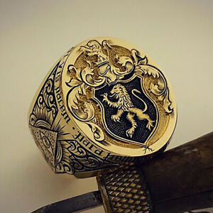 Magnificent 18K Gold Lion Rings Men Wedding Ring Jewelry Party Gift Size 6-13