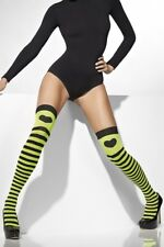Fever Black & Neon Green Striped Opaque Hold-Ups with Heart Print UK 6 - 14