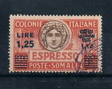 SOMALIA 1927 SC#E7a VARIETY PERF 14 POST MARKED w/GUM 1.25L on  30b ITALY C. #3