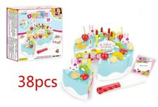 38* Blue Pretend Role Play Kitchen Toy Birthday Cake Creative Food Cutting Set