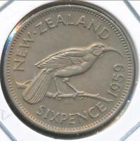 New Zealand, 1959 Sixpence, 6d, Elizabeth II - Uncirculated
