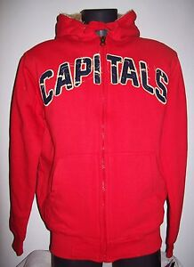 NHL WASHINGTON CAPITALS Thick Sherpa Lined Full Zip Hoody Sewn Logos M L XL XXL