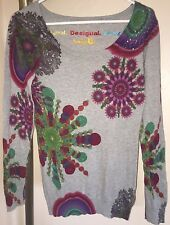 DESIGUAL GRAY SHE JUMPER SWEATER W/CIRCLES & ACCENT SZ LARGE LIGHTWEIGHT