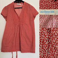 Jojo Maman Bebe Red Floral Daisy Print Tie Waist V-Neck Maternity Top Size 12