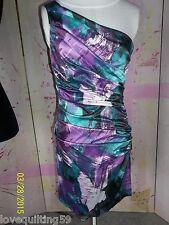 """SPEECHLESS"" Formal  Mini Dress, Single Strap Teal/Purple/ Wine Print, Jr 7"
