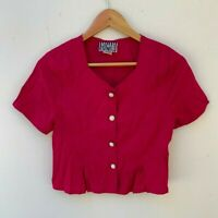 ITEMS retro vintage women's hot pink fuschia lightweight cropped blouse size S