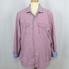 Tommy Bahama Island Crafted Men Check Long Sleeve Flip Cuff Cotton Shirt EUC