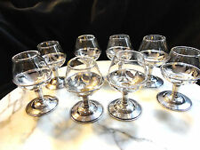ANT STERLING SILVER SET 8  FOOTED CUPS-TINY BRANDY SNIFTER GLASS INSERTS-ESTATE-