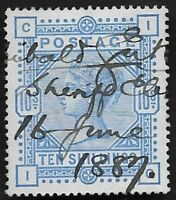 1884 QV SG177a 10s Cobalt on Blued Paper Very Good Used BPA Cert CV £ ?