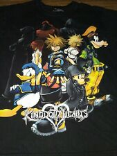 Kingdom Hearts Large Black T-shirt Size L Disney Goofy Donald Duck Mickey Mouse