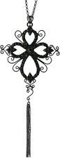 £100 Baroque Gothic Black Cross Pendant Long Necklace Swarovski Elements Crystal