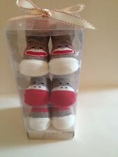 Sock Monkey Baby Boy Girl 3 Pairs Booties Socks Size 0-6 Months Layette  Gift