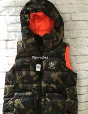 Ralph Lauren RLX Womens  DUCK DOWN Puffer Hooded SKI Vest Jacket Elmwood Camo L