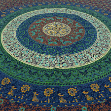 Small Twin Blue Green Indian Elephant Mandala Tapestry Wall Hanging Pi