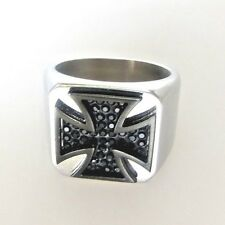 Men's Stainless Steel and Black Crystal Stones Maltese Cross Ring Size 10