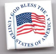 GOD BLESS THE UNITED STATES OF AMERICA-PINBACK-ONE 3/4 INCHES WIDTH-SUPER NICE