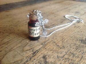 Necklace Vampire Blood Halloween Goth Handmade Cross Bottle