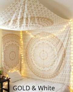 Wall Hanging Tapestry Gold Mandala Ombre Queen Bedspread Home Decorative Hippie