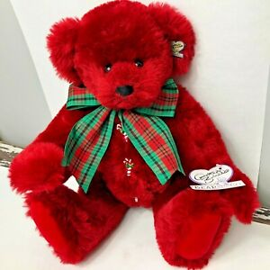 Annette Funicello Bear Co Rosie Red Christmas Jointed Bear Peppermint Button Tag