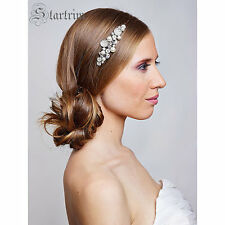 Bridal Swarovski Crystal Pearl Hair comb. Vintage style jewel Rhinestone Wedding