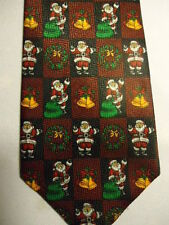 """Christmas Tie Red Green White Gold Santa Claus Checkers 59"""""""