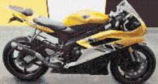"Yamaha R6 Motorbike, Yellow - Vehicle Cross Stitch Kit 13"" x 7"" - 14 Count Aida"