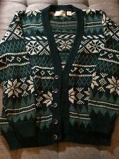 "WOODS & GRAY Ramie/Cotton ""Fair Isle"" type Button Front Cardigan SWEATER sz L"