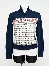 WOMENS LOFFLER ZIP CARDIGAN WITH NORDDIC PATTERN FAIR ISLE NAVY SIZE S SMALL