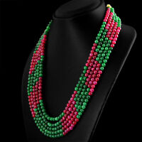 637.85 CTS EARTH MINED 5 STRAND RED RUBY & GREEN EMERALD ROUND BEADS NECKLACE