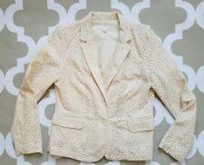 KENAR Ivory Cream Lace Lined Blazer Size M