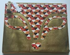 NWT Charming Charlie Fox Bag Fox Animal Face Clutch Orange Gold New!