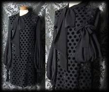 Goth Black Velvet Polka Dot VEXATION Pussy Bow Dress 12 14 Vintage Retro Pin Up