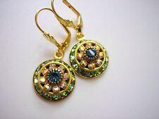 Vintage Dome Earrings with Swarovski Peridot & Aurora Borealis Crystals Art Deco