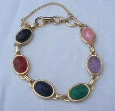 CORO Goldtone Molded Scarab Bracelet w/ Safety Chain