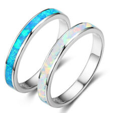 Simple Women Silver Plated Fashion Jewelry Opal Crystal Engagement Bride Rings