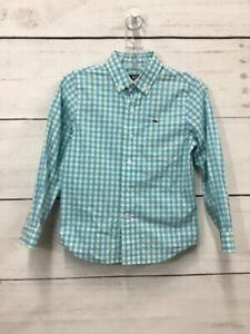 Vineyard Vines Boys SIZE 5 Aqua Checkered Button Down Long Sleeve Shirt