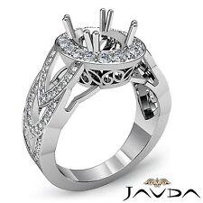 Oval Semi Mount Diamond Engagement Halo Designer Ring 14k White Gold 1.25 Carat