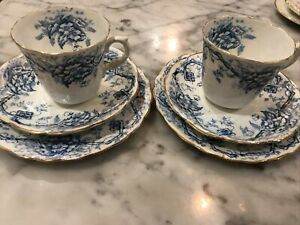 Pair of Blue And White Tea Cup Trio