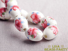 20pcs 18x12mm Loose Ceramic Porcelain Oval Beads Free Shipping Light Pink Lily