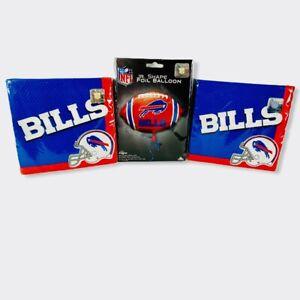 NFL BUFFALO BILLS  Party Supplies Jr. Shape Foil Balloon 72ct Napkins