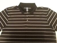 PGA Tour Mens AirFlux Golf Polo Shirt Short Sleeve Black Gray Striped 2XL XXL