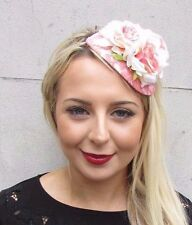 Peach Pink Cream Rose Flower Fascinator Teardrop Races Headband Wedding Vtg 3501