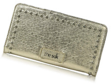 The SAK Iris Slim Wallet Bi-fold Metallic Pyrite Leather Studded Snap