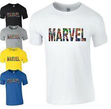 Marvel T-Shirt Avengers Captain America Ironman Black Widow Mens Kids Xmas Top