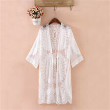 Womens Bikini Summer Beach Dress Kimono Cardigan Lace Cover Up Long Tops Blouse